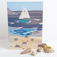 Sailing boat GP embroidery printed card 4 x 6 inches