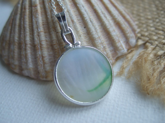 "Japanese Sea Glass Ohajiki Marble Necklace Opalescent Green White 18"" Sterling"