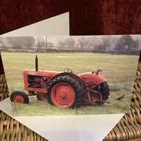 Vintage Red Tractor and Pheasant Blank Greetings Card