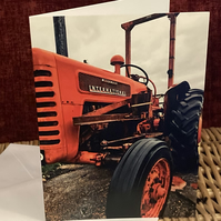 Red Vintage Tractor - Blank Greetings Card for Birthday, Thank you, Miss you
