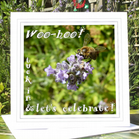 'Let's celebrate!' (honey bee on lavender) greeting card