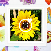 'Smiling sunflower with emoji' greeting card with free sunflower seeds