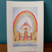 Original Artwork - Beach hut and Rainbow
