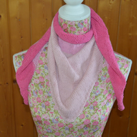 Cotton Shawl - wrap - scarf - shades of pink - knitted shawl - Candyfloss