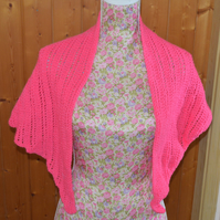 Knitted Shawl - wrap - vibrant pink - knitted wrap - pink rhapsody
