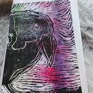 Crow - linoprint and watercolour postcard