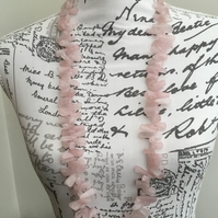 Romantic Rose Quartz! A Lovely Statement Long Length Rose Quartz Necklace!