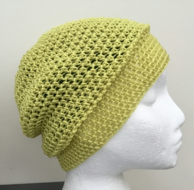Spring Greens! Super Warm Double Layered Crocheted Beanie or Sloughy Hat.
