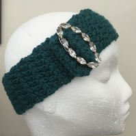 Glamour! Emerald Green Crocheted Headband with Vintage Crystal Accessory