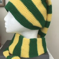 Yellow and Green Striped Super Long Elf Style Hat for Lady or Gent!