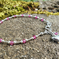 Pink Quartz and Silver Loveheart Bracelet