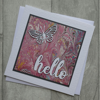 Die Cut Butterfly and Pink Marbled Paper - Hello - Blank Greetings Card