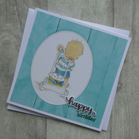 Cute Baby with Birthday Cake - Happy Birthday - Birthday Card