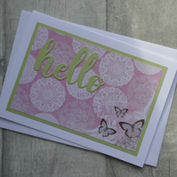 Pink and Green Blank Card with Butterflies and Die Cut 'Hello'