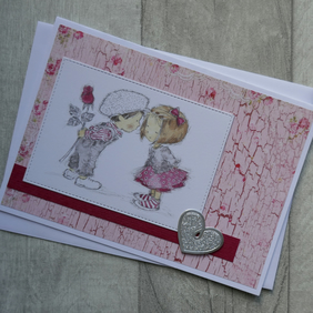 Cute Boy and Girl Floral Card with Silver Heart - Anniversary or Love Card