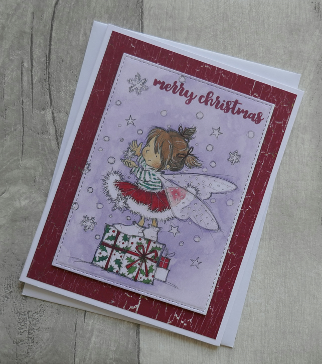 Cute Fairy on Gift with Snowflakes - Christmas Card