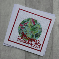 Floral and Embossed Christmas Card - Happy Christmas