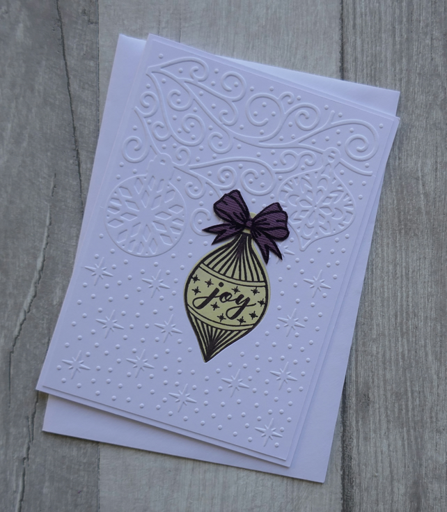 Lemon and Purple Opulent Bauble on Embossed Background - Christmas Card