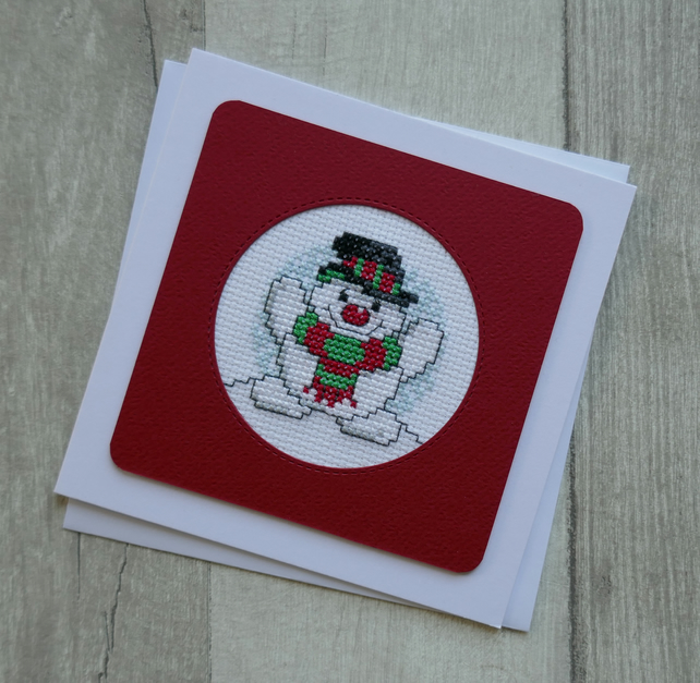 Snowman with Red & Green Scarf - Cross Stitch Christmas Card