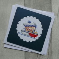 Cross Stitch Baby Joy - Sailor with Boats - Blank Greetings Card