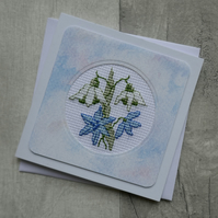 Cross Stitch Winter Flowers - Snowdrops and Skilla - Blank Greetings Card