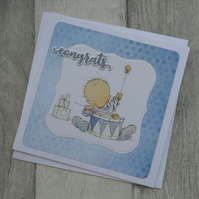 Baby with Blue Drum - Congrats - New Baby Greeting Card