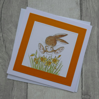 Bunny with Daffodils - Cute Easter Card