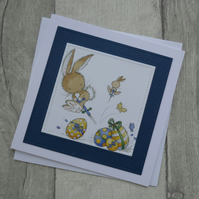 Bunnies with Easter Eggs - Cute Easter Card