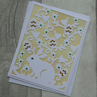 Rabbit with Easter Eggs, Flowers and Birds - Easter Card