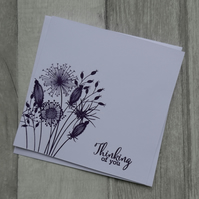 Purple Embossed Seedheads - Thinking of You - Sympathy Card