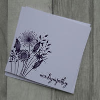 Purple Embossed Seedheads - With Sympathy - Sympathy Card