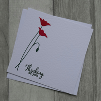 Red Poppies - Thinking of You - Sympathy or Remembrance Card