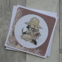 Young Girl Cuddling Dog - Brown and Cream Floral Paper - Blank Notecard