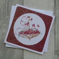 Floral Umbrella With Roses and Butterflies - Blank Notecard