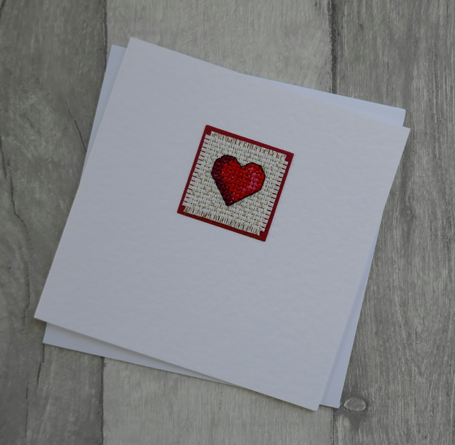 Red Cross Stitch Heart - Anniversary or Wedding Card