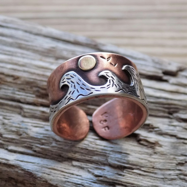 Copper, silver and brass 'sun on the ocean waves' mixed metal ring