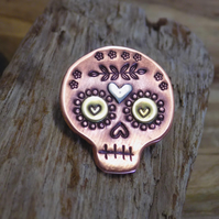 Copper, brass and silver 'day of the dead, sugar skull' mixed metal brooch