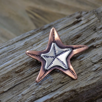 Silver and copper starfish mixed metal brooch