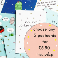 pick 'n' mix a6 postcards - choose your own - five postcards