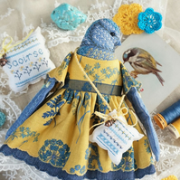 Saoirse, A Hand Embroidered Blue Tit Folk Art Doll