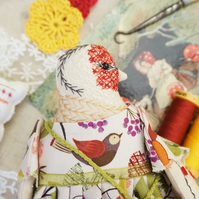 Perrie, A Hand Embroidered Goldfinch Folk Art Rag  Doll