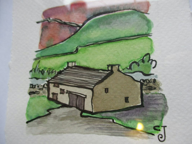 Tiny Art: The Barn – original art, framed watercolour painting
