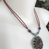 Pendant necklace,  Tibetan necklace,  Statement Necklace, Beaded necklace