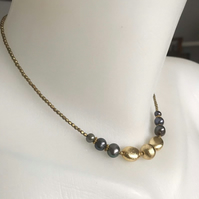 Black pearl necklace, Beaded pearl necklace, Gold filled necklace,Gift for her