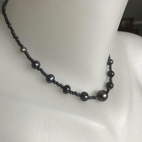 Black peal necklace earrings, Hematite necklace earrings, Pearl necklace earring