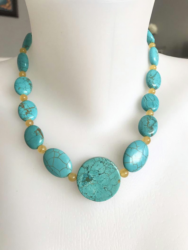 Coin turquoise Necklace, Statement necklace, Beaded necklace, Turquoise necklace