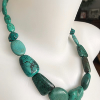 Chunky Turquoise beads necklace, Statement turquoise necklace,Turquoise necklace