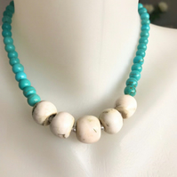 Chunky beads necklace, Statement turquoise necklace,Turquoise necklace