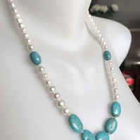 Turquoise necklace earring, Long beaded necklace, Pearl necklace, Gift for her