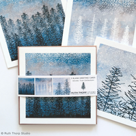 Winter Trees Greeting Cards pack of 3 blank illustrated cards
